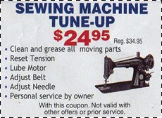 Sewing Machine Tune-up Coupon