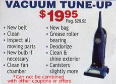 Vacuum Cleaner Tune-up Coupon